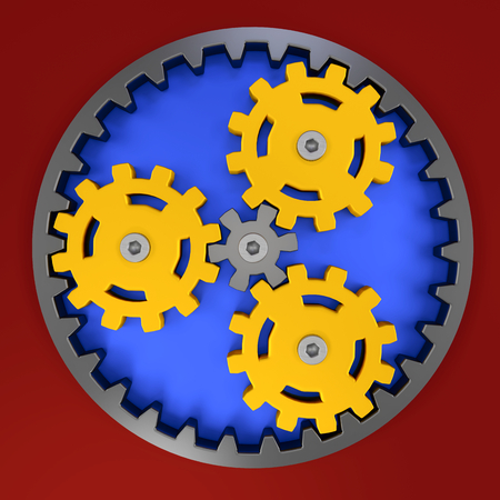 yellow plastic planetary gear for teamwork illustration, creativity concept and marketing challenge, mechanical transmission principle