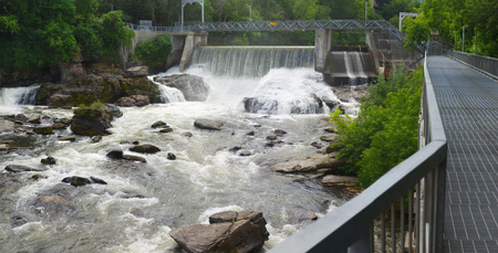 electric power station: hydroelectric dam on river waterfalls, power plant