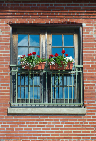 flower box: flower box at window red brick wall on sunny day sky reflections Stock Photo