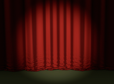 theatrical performance: theater red curtain backdrop concert event 3D illustration Stock Photo