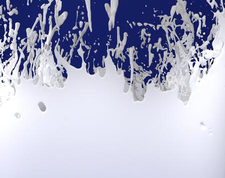 milk white liquid splash on blue background 3D illustration
