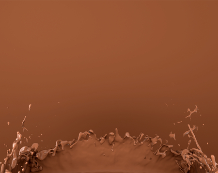 brown milk chocolate splash background 3D illustration