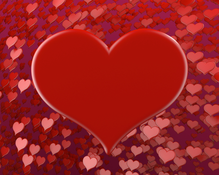 happy valentines day many red hearts background 3D illustration