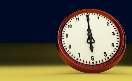 o'clock: big clock deadline rush time six oclock 3D illustration
