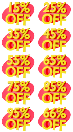 95: discount price percentage isolated numbers 3D rendering for sale reduction