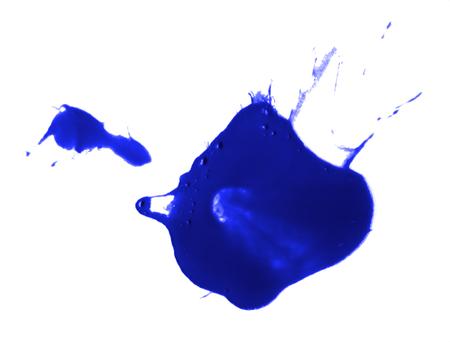 blue paint drop splash artistic spot inkblot drip ink Stock Photo