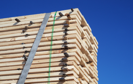 lumbering: wooden planks wood stack tied for shipping Stock Photo