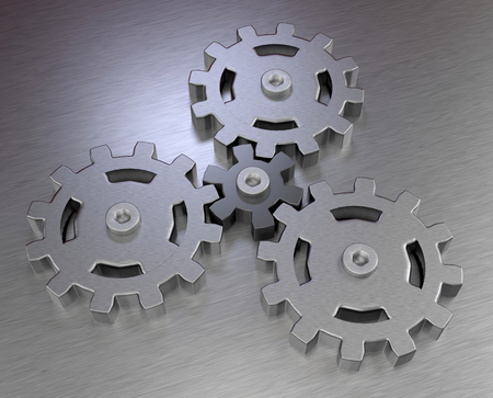 mechanical gears planetary transmission stainless steel metal icons 3D illustration Stockfoto