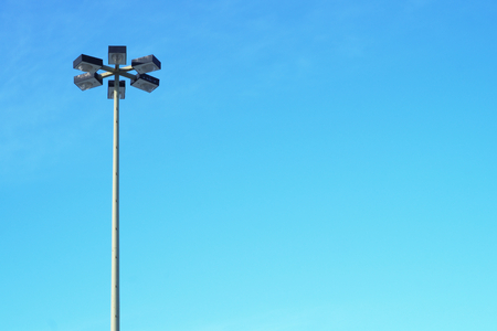 blue empty space sky street lamp light background Stock Photo