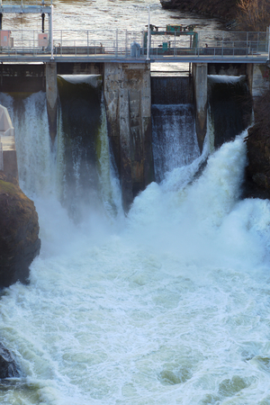 hydroelectricity: hydroelectricity powerstation waterfall reservoir turbine electricity Stock Photo