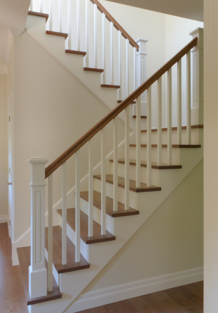 Merveilleux White Painted Staircase Hardwood Classic Style Steps Stairway Stock Photo,  Picture And Royalty Free Image. Image 86044071.