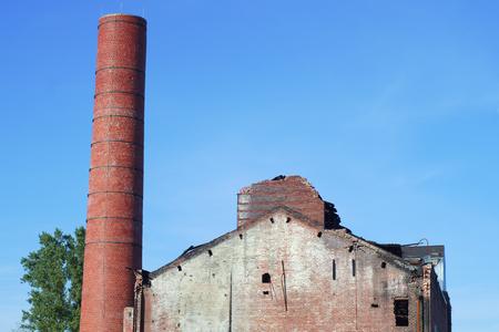 chimney structure damage fire ruin disaster demolished brick building