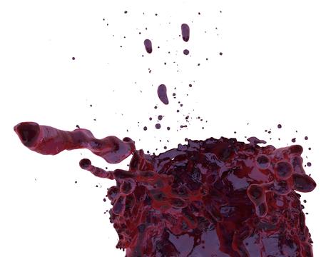 wine splashing motion juice red fruit punch on white background motion 3D illustration