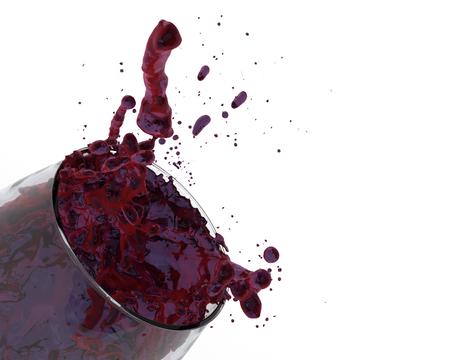 red wine fruity grape juice fruit punch glass splash close-up on white background 3D illustration
