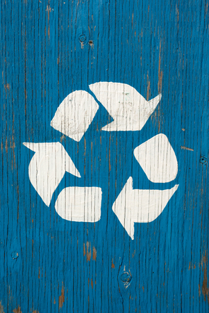 recycle wood panel blue cracked sign