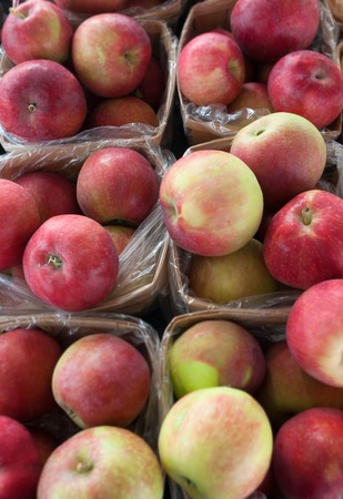 apples lobo in baskets organic fresh fruits Stock Photo