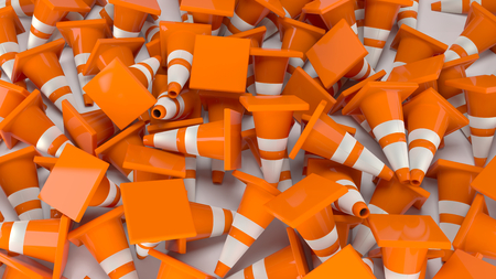 traffic cones construction 3D illustration 写真素材