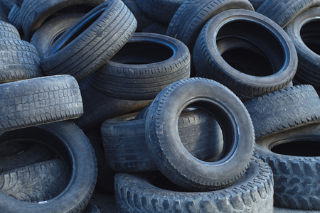 tires for recycling used scrap rubber waste Foto de archivo