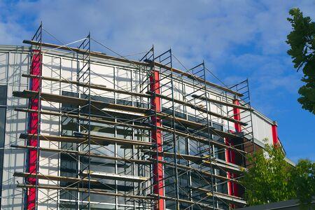 scaffolding under construction building exterior restoration scaffold structure