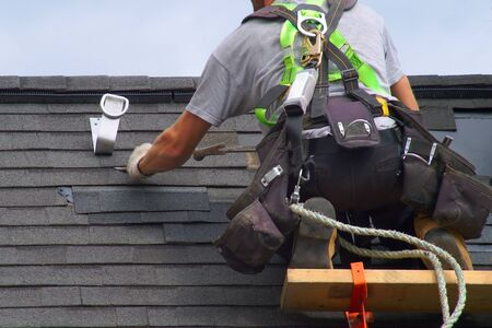 roofer construction roof maintenance rope security worker