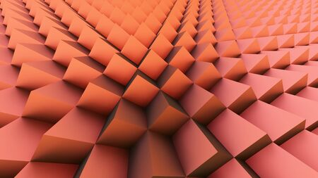 red cubes background 3D illustration wide angle effect