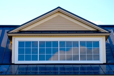 casa, techo, tragaluz, ventana, residencial, casa, fachada