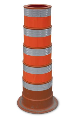 real dirty orange traffic cone, construction road Imagens