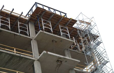 concrete building construction site residential tower structure Stock Photo
