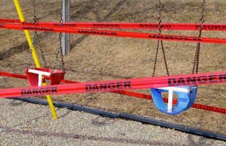 coronavirus danger sign playground closed covid-19 restriction Stock Photo