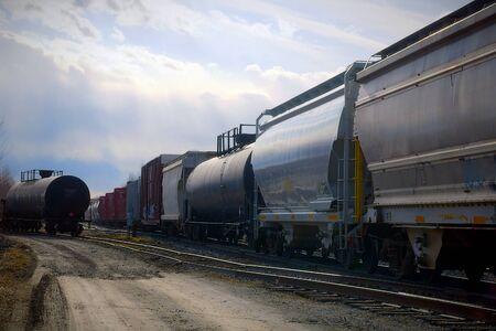 train wagon on railway gas fuel transportation railroad track rail tanker