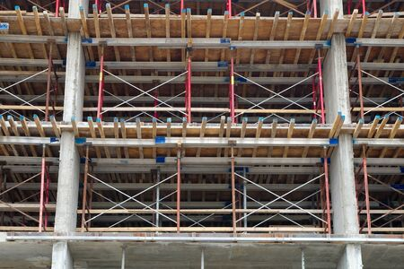 construction site concrete building metal beam structure