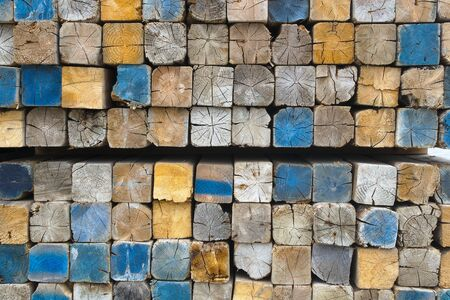 square wood stack construction site lumber background Stock Photo