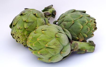 artichokes on white background healthy eating green vegetables