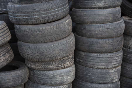 stack of old tires for rubber recycling