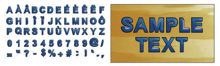 blue letters retro comic alphabet text uppercase with foreign language accents