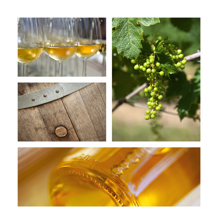 sauternes: Wine and grapes collage