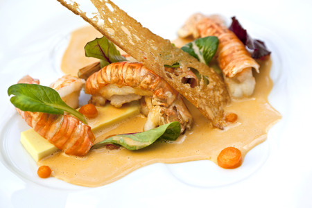Lobster sauce and toasted coconut