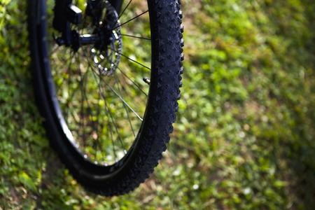 ramble: Wheel of a cross bike Stock Photo