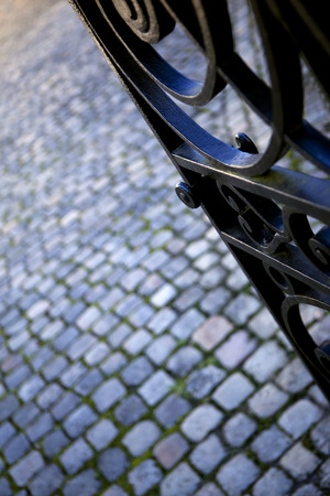 open gate: Detail of a wrought iron gate Stock Photo