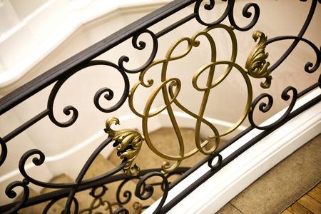 Handrail in a French mansion Standard-Bild