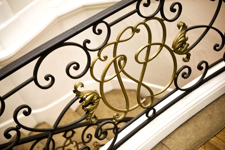 handrail: Handrail in a French mansion Stock Photo