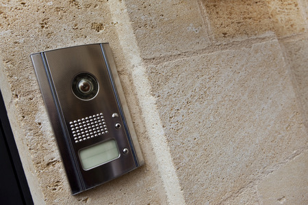 Intercom on a stone facade