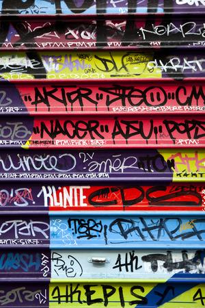 iron curtain: Graffiti on an iron curtain Stock Photo