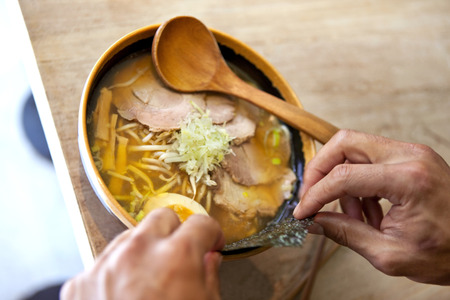 gastronomic: Chef cooking a japanese soup
