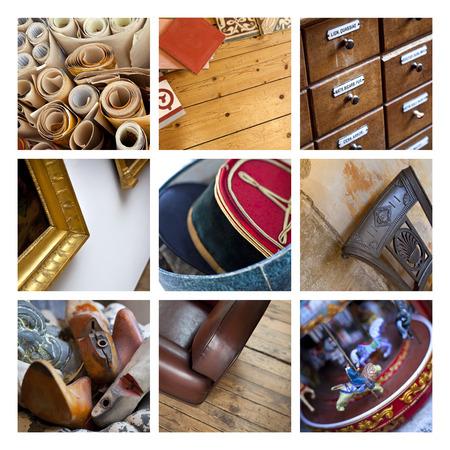 Rommelmarkt collage Stockfoto