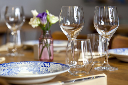 bistro: Table set in a French bistro Stock Photo