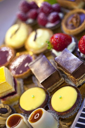 Cakes and pastries in a bakery photo