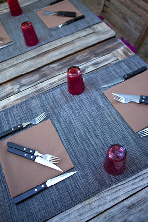 table set: Table set in a restaurant