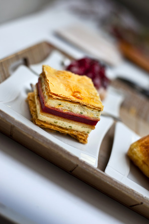 Cake Mille feuilles on a plate photo