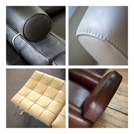 Collage of leather furnitures in a living room